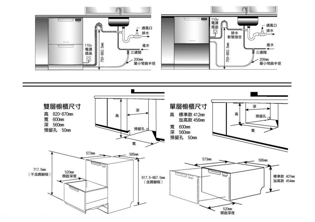 菲雪品克9系列洗碗機安裝說明